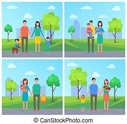 famiglia, con, bambini, e, cane, su, camminata dentro, parco città