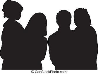 famiglia, con, due, figlie