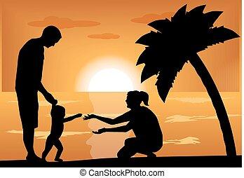 famiglia, con, uno, bambino, a, tramonto