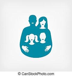 famiglia, concept., padre, giovane, madre, bambini