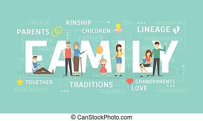 famiglia, concetto, illustration.