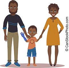 famiglia, coppia, figlio, invalido, girl., felice
