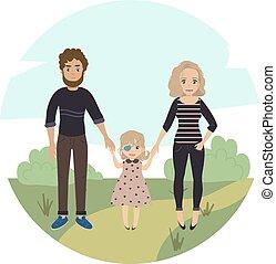 famiglia, coppia, invalido, girl., bambino, felice