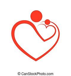 famiglia, cura, simbolo, in, cuore, forma., vettore,...