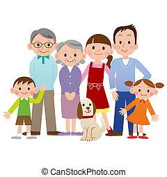 famiglia, dall'aspetto, felice