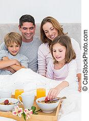 famiglia, detenere, colazione