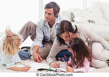 famiglia, disegno, insieme