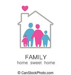 famiglia, dolce, casa