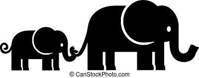 famiglia, elefante