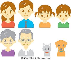 famiglia, espressione, triste