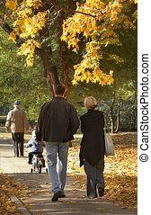 famiglia estesa, a, uno, passeggiata
