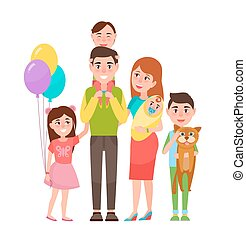 famiglia estesa, illustrazione, vettore, felice, icona