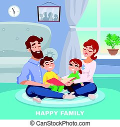 famiglia felice, cartone animato, manifesto