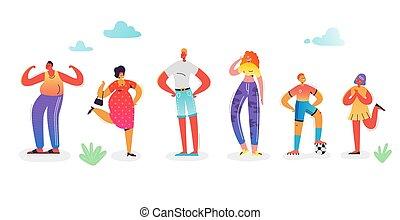 famiglia felice, characters., genitori, con, kids., padre figlio, madre, e, daughter., famiglia, appartamento, cartoons., vettore, illustrazione