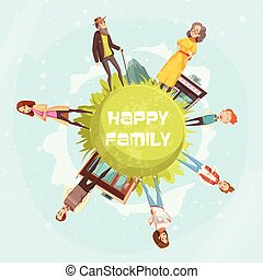 famiglia felice, circolare, fondo
