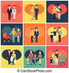 famiglia felice, concetto, bandiera, disegno