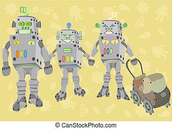 famiglia felice, di, robot