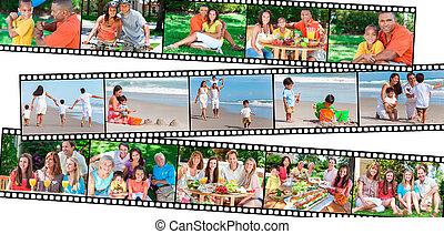 famiglia felice, genitori, &, bambini, consumo sano, stile di vita
