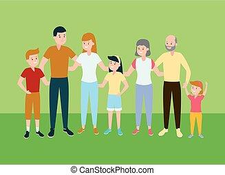 famiglia felice, genitori, bambini, nonni