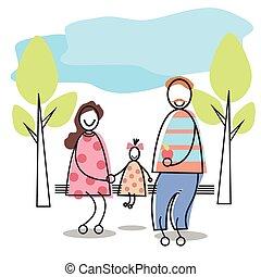 famiglia felice, genitori, capretto, sedendo panca, parco