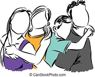 famiglia felice, illustrazione