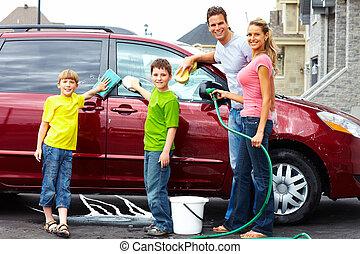 famiglia felice, lavaggio, il, famiglia, automobile.