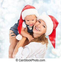 famiglia felice, madre bambino, in, cappelli natale
