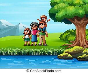 famiglia, felice, natura, fuori, vista, godere