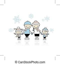 famiglia felice, sorridente, insieme, vacanza natale