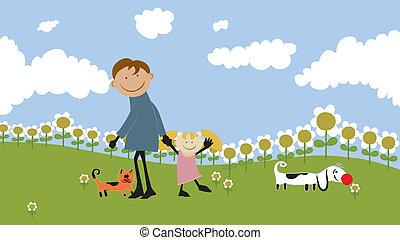 famiglia felice, spendere, tempo, outdoors.