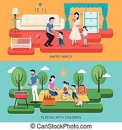 famiglia felice, tempo, illustrazione