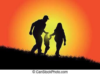 famiglia felice, tramonto, bello