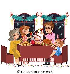 famiglia, festeggiare, cena, saporito, vacanza, cartone animato
