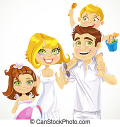 famiglia, fondo, pronto, bianco, vacanza, spiaggia, bambini