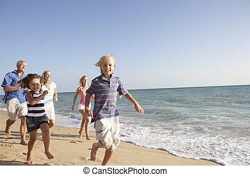 famiglia, generazione, tre, ritratto, vacanza, spiaggia
