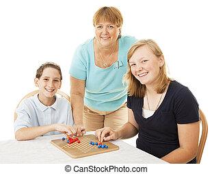 famiglia, giochi, gioco cartolina