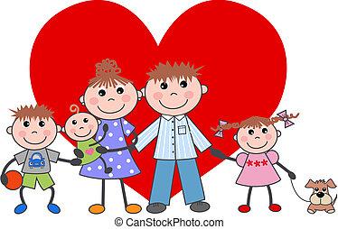 famiglia, giorno valentines, amore