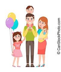 famiglia, grande, illustrazione, vettore, felice, icona