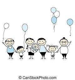 famiglia, grande, neonato, compleanno, bambino, bambini, felice