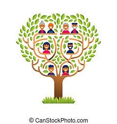 famiglia, icone, grande, persone, albero, felice