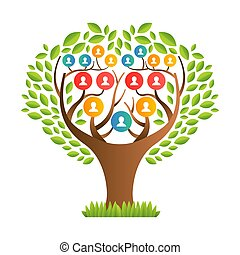 famiglia, icone, grande, persone, albero, sagoma