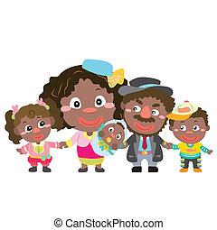 famiglia, illustrazione, carino, bianco