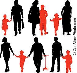 famiglia, illustrazione, fondo., silhouette, vettore, nero, bianco