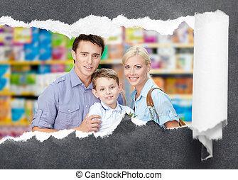 famiglia, in, il, centro commerciale