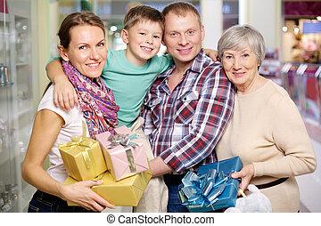 famiglia, in, il, negozio