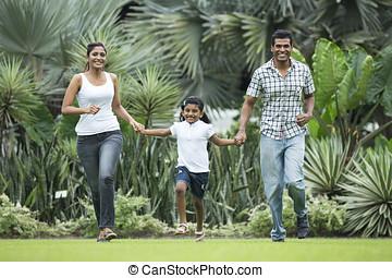 famiglia, insieme, correndo, indiano, fuori, felice