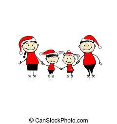 famiglia, insieme, sorridente, vacanza, natale, felice