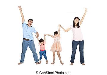 famiglia, isolato, asiatico, fondo, bianco, felice