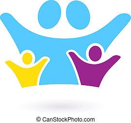 famiglia, &, isolato, comunità, segno, bianco, o, icona