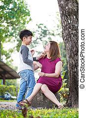famiglia, lei, parco, figlio, asiatico, felice